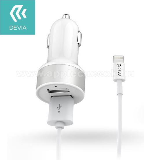 APPLE iPad 9.7 (5th generation) (2017)Szivargyújtó töltő / autós töltő - 2db USB aljzat, max 5V/2,4A - lightning adatkábellel - FEHÉR