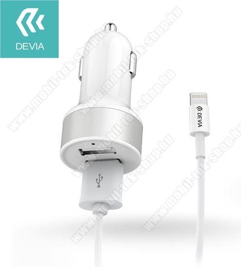 Szivargyújtó töltő / autós töltő - 2db USB aljzat, max 5V/2,4A - lightning adatkábellel - FEHÉR