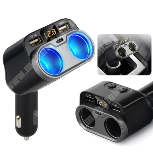 Meizu C9 Szivargyújtó töltő / autós töltő elosztó - 2x USB port (2x 5V/2.4A), 1x Type-C aljzat (5V/1.5A), 2 extra szivargyújtó aljzat, 80W(max!), LED kijelző - FEKETE