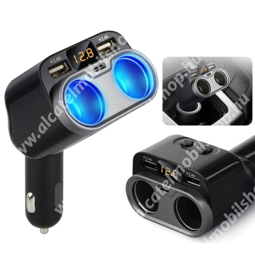 ALCATEL One Touch Evolve Szivargyújtó töltő / autós töltő elosztó - 2x USB port (2x 5V/2.4A), 1x Type-C aljzat (5V/1.5A), 2 extra szivargyújtó aljzat, 80W(max!), LED kijelző - FEKETE