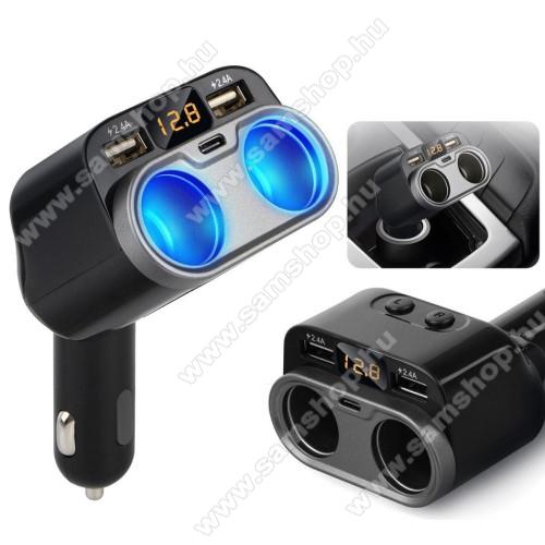 SAMSUNG SGH-i900 OmniaSzivargyújtó töltő / autós töltő elosztó - 2x USB port (2x 5V/2.4A), 1x Type-C aljzat (5V/1.5A), 2 extra szivargyújtó aljzat, 80W(max!), LED kijelző - FEKETE