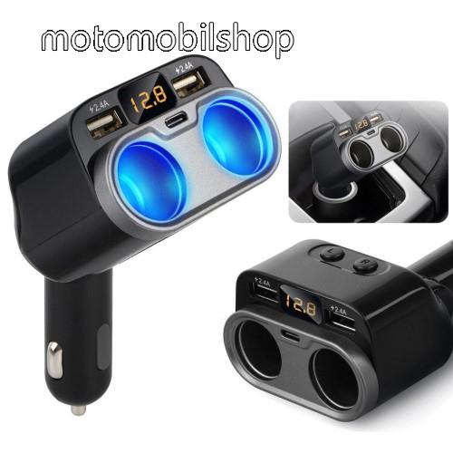 MOTOROLA Fire (XT311) Szivargyújtó töltő / autós töltő elosztó - 2x USB port (2x 5V/2.4A), 1x Type-C aljzat (5V/1.5A), 2 extra szivargyújtó aljzat, 80W(max!), LED kijelző - FEKETE