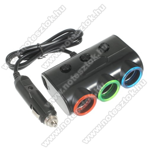 SAMSUNG Galaxy Tab Active Pro (Wi-Fi) (SM-T545)Szivargyújtó töltő / autós töltő elosztó - 2 USB port 5V/1A, 5V/2.1A, 3 extra szivargyújtó aljzat, külön-külön kapcsolhatóak, LED fény, max 120W - FEKETE