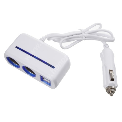 HUAWEI Honor V40 5G Szivargyújtó töltő / autós töltő elosztó - 2 USB port, 2 extra szivargyújtó, max 120W - FEHÉR