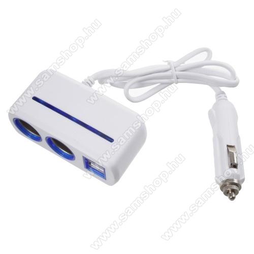 SAMSUNG GT-E1107Szivargyújtó töltő / autós töltő elosztó - 2 USB port, 2 extra szivargyújtó, max 120W - FEHÉR