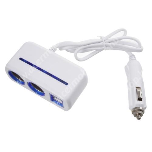 Szivargyújtó töltő / autós töltő elosztó - 2 USB port, 2 extra szivargyújtó, max 120W - FEHÉR