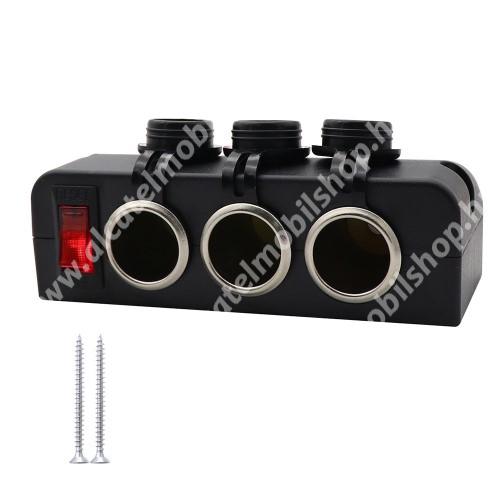 Szivargyújtó töltő / autós töltő elosztó - 3x szivargyújtó aljzat, reset kapcsoló gomb, 16A, 120W(max), 12-24V, cseppálló, csavarral rögzíthető, 95 cm vezeték, 131 x 52 x 14 mm, beépítése szakértelmet igényel! - FEKETE
