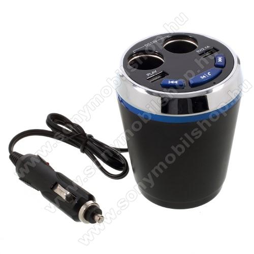 Szivargyújtó töltő / autós töltő elosztó - pohártartóba helyezhető, beépített FM transmitter, bluetooth  V3.0+EDR, USB aljzat 5V/2100mAh, pendrive olvasó funkció, audio gombok - FEKETE