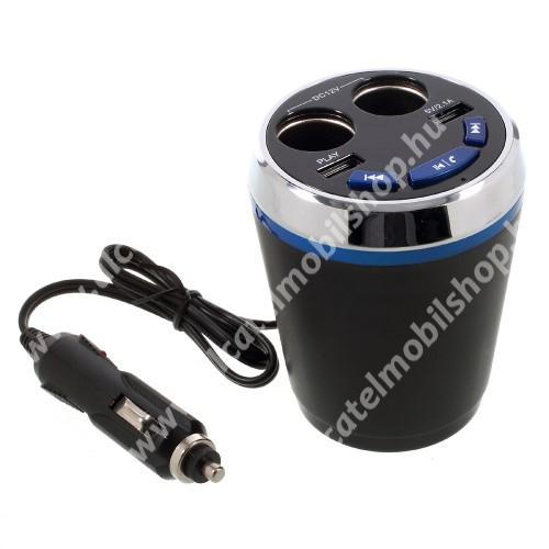 ALCATEL Go Play - 7048X Szivargyújtó töltő / autós töltő elosztó - pohártartóba helyezhető, beépített FM transmitter, bluetooth  V3.0+EDR, USB aljzat 5V/2100mAh, pendrive olvasó funkció, audio gombok - FEKETE