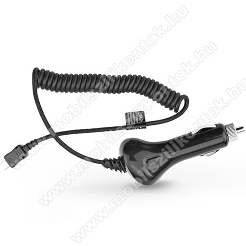 Szivargyújtó töltő/autós töltő - USB 3.1 Type-C spirál kábellel, 12-24VDC, DC 5V / 2A - FEKETE
