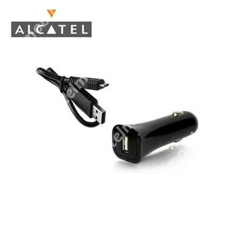 ALCATEL OT-918D Szivargyújtó töltő/autós töltő - USB aljzattal, 5V / 1A, DC53 adat / töltő kábellel - FEKETE - GYÁRI