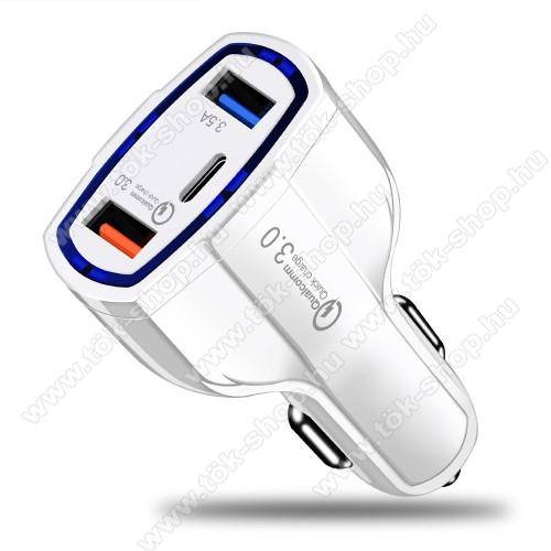 Szivargyújtós töltő / autós gyorstöltő - Quick Charge 3.0, Input: DC 12V-32V, Output: 5V/3.5A; 5V-1.8A; 6V/1.8A, max 7A, max 35W, 2 x USB, 1 x Type-C aljzat - FEHÉR
