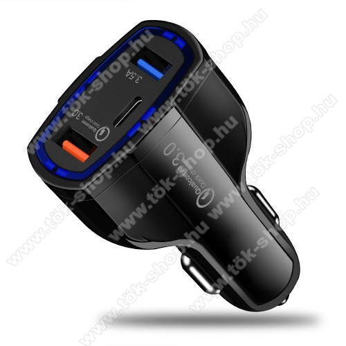 Szivargyújtós töltő / autós gyorstöltő - Quick Charge 3.0, Input: DC 12V-32V, Output: 5V/3.5A; 5V-1.8A; 6V/1.8A, max 7A, max 35W, 2 x USB, 1 x Type-C aljzat - FEKETE