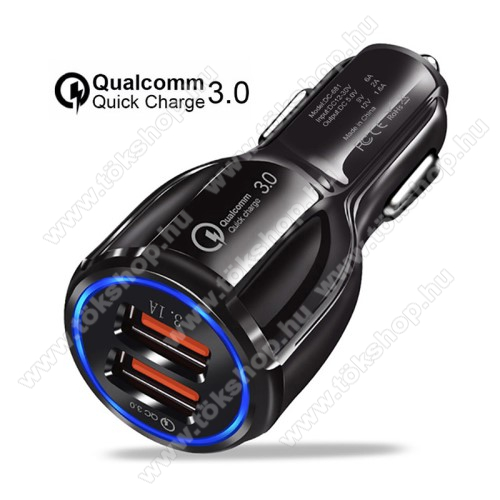 Vodafone Tab Prime 6Szivargyújtós töltő / autós töltő - Quick Charge 3.0, Input: DC 12V-30V, 2db USB aljzattal, Output: 1 x 5V-3.1A és 1 x 5V-6A/9V-2A/12V-1.6A, 30W - FEKETE