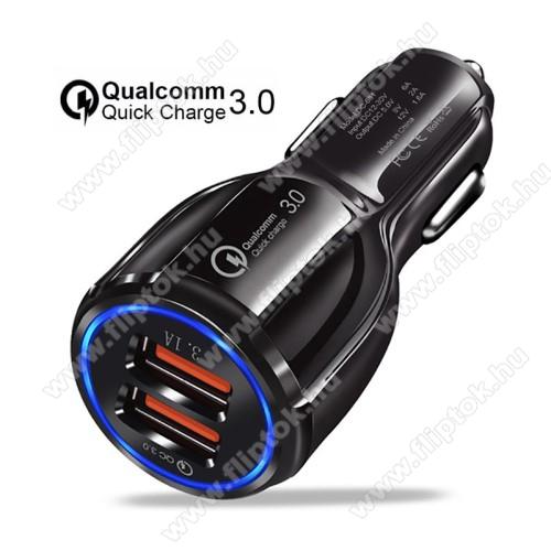 Motorola Moto E6Szivargyújtós töltő / autós töltő - Quick Charge 3.0, Input: DC 12V-30V, 2db USB aljzattal, Output: 1 x 5V-3.1A és 1 x 5V-6A/9V-2A/12V-1.6A, 30W - FEKETE