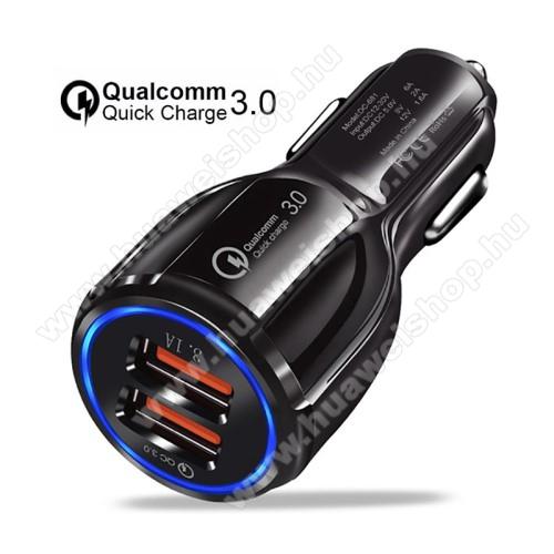 HUAWEI Y6 Prime (2018)Szivargyújtós töltő / autós töltő - Quick Charge 3.0, Input: DC 12V-30V, 2db USB aljzattal, Output: 1 x 5V-3.1A és 1 x 5V-6A/9V-2A/12V-1.6A, 30W - FEKETE