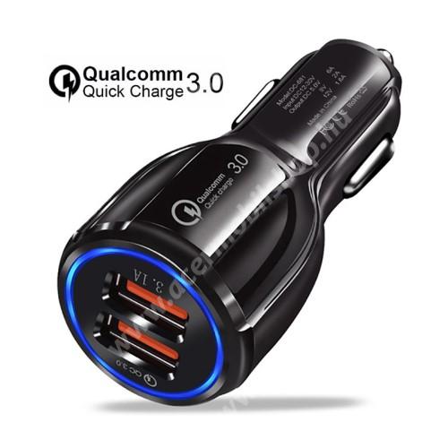 ACER Liquid X2 Szivargyújtós töltő / autós töltő - Quick Charge 3.0, Input: DC 12V-30V, 2db USB aljzattal, Output: 1 x 5V-3.1A és 1 x 5V-6A/9V-2A/12V-1.6A, 30W - FEKETE