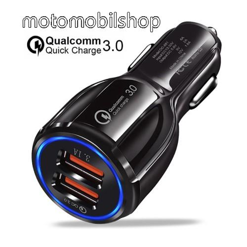 MOTOROLA Moto G5 Plus Szivargyújtós töltő / autós töltő - Quick Charge 3.0, Input: DC 12V-30V, 2db USB aljzattal, Output: 1 x 5V-3.1A és 1 x 5V-6A/9V-2A/12V-1.6A, 30W - FEKETE