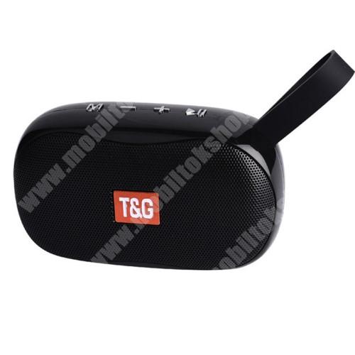 LG G4c (H525N) T&G TG173 hordozható bluetooth hangszóró - V5.0, 5W teljesítmény, 500mAh beépített akkumulátor, mikrofon, FM rádió, AUX, TF kártyaolvasó, USB port,  3óra zenehallgatási idő, 121 x 45.5 x 70.8mm - FEKETE