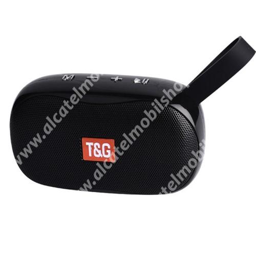 T&G TG173 hordozható bluetooth hangszóró - V5.0, 5W teljesítmény, 500mAh beépített akkumulátor, mikrofon, FM rádió, AUX, TF kártyaolvasó, USB port,  3óra zenehallgatási idő, 121 x 45.5 x 70.8mm - FEKETE