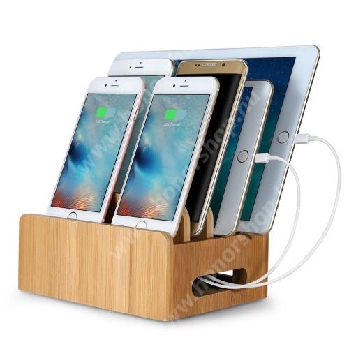 HUAWEI Honor V40 5G Telefon / tablet állvány / töltőállomás / asztali tartó / tároló - csúszásgátló, belső rekesz mérete: 155 x 112 x 51mm, bambuszfából készült, 170 x 125 x 90mm, a töltő NEM TARTOZÉK! - BARNA