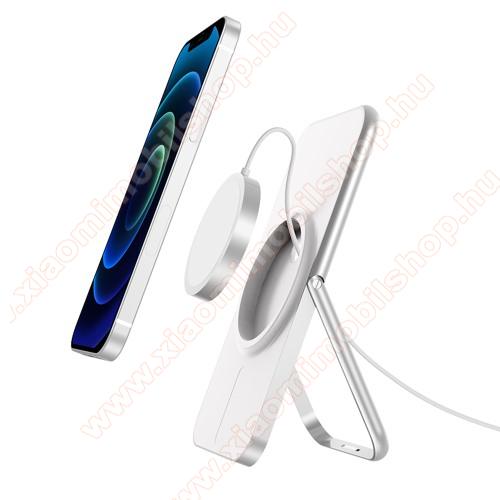 Telefon tartó asztali állvány Apple MagSafe-hez - alumínium, kábelelvezető, csúszásgátló, összecsukható, a MagSafe töltő NEM TARTOZÉK! - FEHÉR
