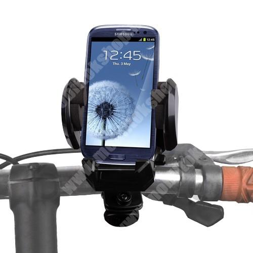 SONYERICSSON K330 Telefon tartó kerékpár / bicikli UNIVERZÁLIS - elforgatható - 50-120 mm-ig nyíló bölcsővel