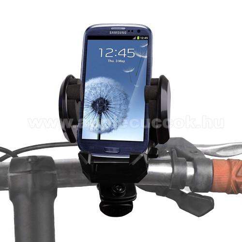 APPLE IPhone 5CTelefon tartó kerékpár / bicikli UNIVERZÁLIS - elforgatható - 50-120 mm-ig nyíló bölcsővel