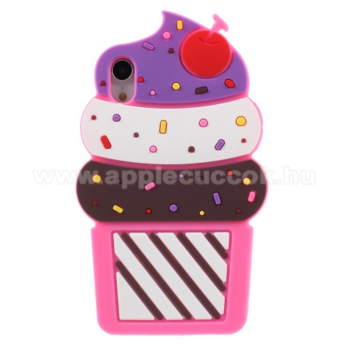 Telefonvédő gumi / szilikon (3D, fagyi minta) - MAGENTA - APPLE iPhone Xr