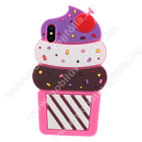 Telefonvédő gumi / szilikon (3D, fagyi minta) - MAGENTA - APPLE iPhone XS Max