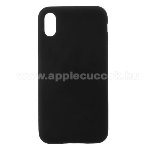 Telefonvédő gumi / szilikon tok - MATT - FEKETE - APPLE iPhone X / APPLE iPhone XS