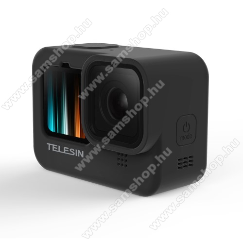 TELESIN szilikon védő tok GoPro Hero 9-hez - csuklópánt, lencsevédő kupak, mosható - FEKETE