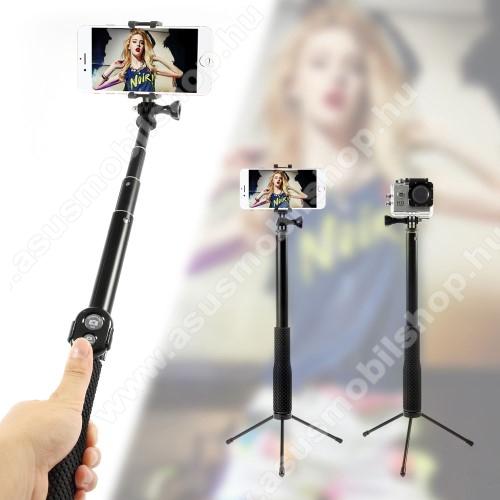 ASUS Zenfone 2 Laser (ZE500KL)Teleszkópos selfie bot / 3 lábú tripod állvány - BLUETOOTH KIOLDÓVAL, forgatható, max 110cm hosszú nyél, 50mm-80mm-ig állítható telefon tartó / GoPro rögzítő - FEKETE