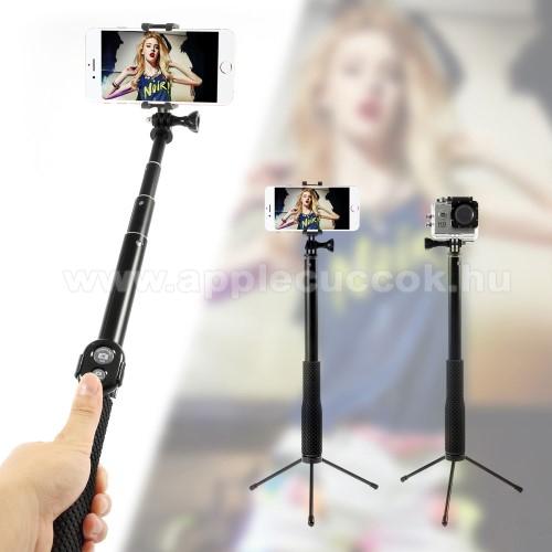 Teleszk�pos selfie bot / 3 l�b� tripod �llv�ny - BLUETOOTH KIOLD�VAL, forgathat�, max 110cm hossz� ny�l, 50mm-80mm-ig �ll�that� telefon tart� / GoPro r�gz�t? - FEKETE