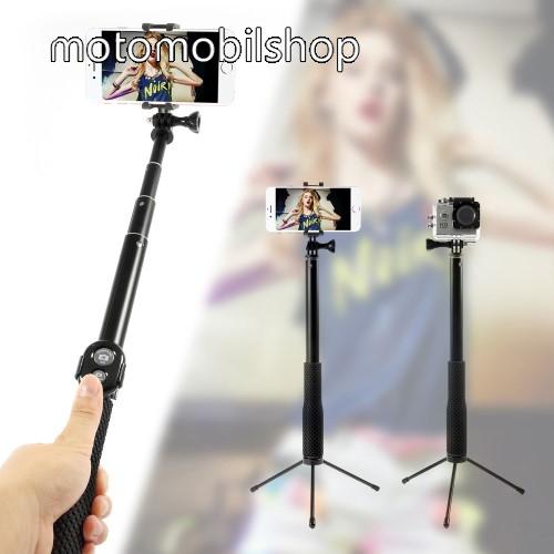 Teleszkópos selfie bot / 3 lábú tripod állvány - BLUETOOTH KIOLDÓVAL, forgatható, max 110cm hosszú nyél, 50mm-80mm-ig állítható telefon tartó / GoPro rögzítő - FEKETE