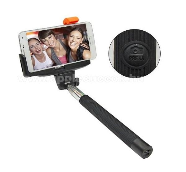 APPLE IPhone 5STeleszkópos selfie bot - BLUETOOTH KIOLDÓ GOMB, forgatható, max 100cm hosszú nyél, 55mm-80mm-ig állítható telefon tartó bölcső - FEKETE