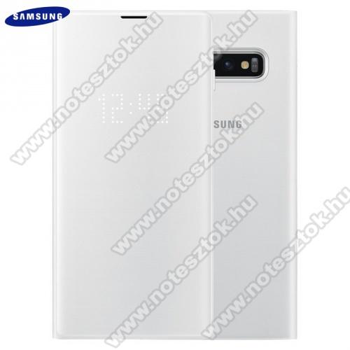 Tok álló (aktív flip, oldalra nyíló, bankkártya tartó, LED kijelző, textil minta) FEHÉR - EF-NG970PWEGWW - SAMSUNG Galaxy S10e (SM-G970) - GYÁRI