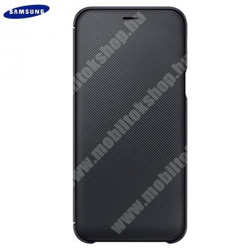 Tok álló (aktív flip, oldalra nyíló, bankkártya tartó, karbon minta) FEKETE - EF-WA605CBEGWW - Samsung Galaxy A6+ (2018) SM-A605F - GYÁRI