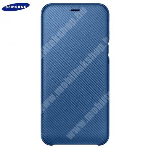 Tok álló (aktív flip, oldalra nyíló, bankkártya tartó, karbon minta) KÉK - EF-WA605CLEGWW - Samsung Galaxy A6+ (2018) SM-A605F - GYÁRI