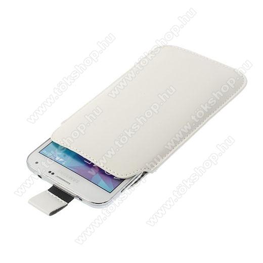 Tok álló, bőr - kihúzó pánt, Samsung Galaxy S5 G900 méret - FEHÉR