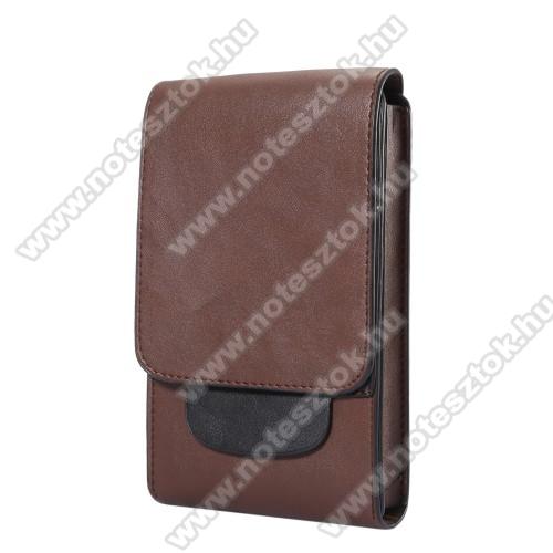 OPPO R17Tok álló, bőr - REJTETT mágneses, övre fűzhető - BARNA - 170 x 100 x 25mm