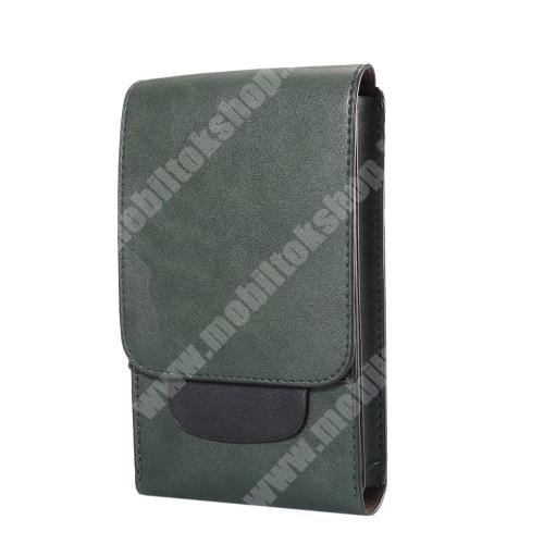 LG G5 (H850) Tok álló, bőr - REJTETT mágneses, övre fűzhető - ZÖLD - 170 x 100 x 25mm