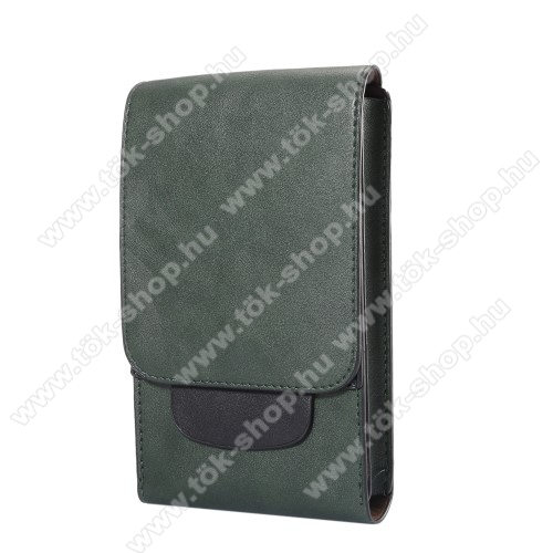 Tok álló, bőr - REJTETT mágneses, övre fűzhető - ZÖLD - 170 x 100 x 25mm