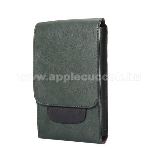 APPLE iPhone 8 PlusTok álló, bőr - REJTETT mágneses, övre fűzhető - ZÖLD - 170 x 100 x 25mm