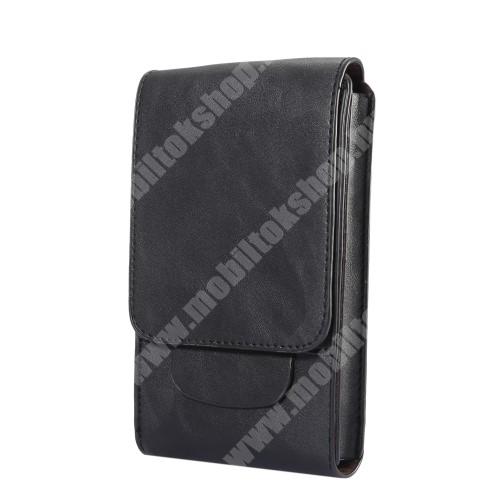 LG X Skin Tok álló, bőr - REJTETT mágneses, övre fűzhető - FEKETE - 170 x 100 x 25mm