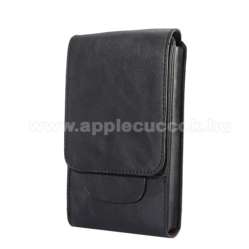 APPLE iPhone 11 Pro MaxTok álló, bőr - REJTETT mágneses, övre fűzhető - FEKETE - 170 x 100 x 25mm