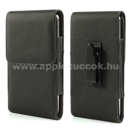 APPLE iPhone 8 PlusTok - álló, bőr, rejtett mágneses záródás, övcsipesz - 167 x 90 x 15 mm - FEKETE