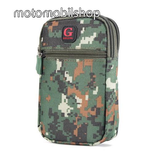 MOTOROLA MPX100 Tok - álló, univerzális, zipzár, tépőzár, karabíner, övre fűzhető - TEREPMINTÁS - ZÖLD - 160 x 95 mm