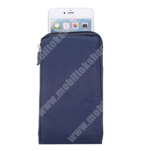 LG G6 (H870) Tok - álló, univerzális, zipzár, tépőzár, karabíner, övre fűzhető - KÉK - 105 x 180 x 15 mm