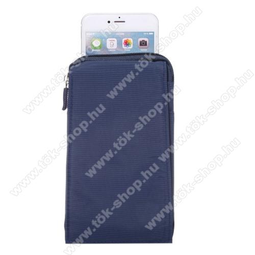 SAMSUNG SM-G770F Galaxy S10 LiteTok - álló, univerzális, zipzár, tépőzár, karabíner, övre fűzhető - KÉK - 105 x 180 x 15 mm
